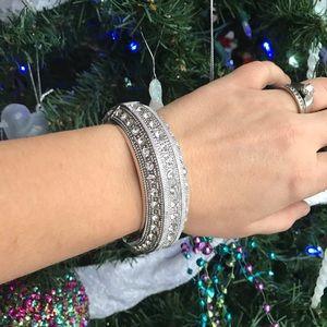Silver Faux Diamond Clasped Fastening Bracelet